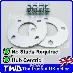 5MM ALLOY WHEEL SPACERS + EXTRA LONG NUTS FOR FORD (4x108 63.4 PCD) SHIM 2H8VS