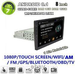 8 1DIN Android 8.1 Car Radio Wifi Mirror Link Player GPS Navi Head Unit 1+16GB