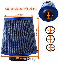 BLUE UNIVERSAL FREE FLOW PERFORMANCE AIR FILTER & ADAPTERS Ford 1