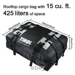 Black PVC Waterproof Cargo Bag Luggage Roof Top Travel Storage Pocket For Car