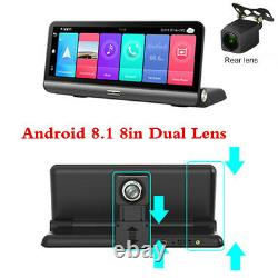 Center Console Dual Lens Dash Camera Wifi DVR GPS 2+32G Recorder 8in Android 8.1
