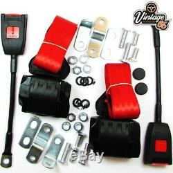 Classic Ford Front Pair Fully Automatic Inertia Red Seat Belt Kits E Approved