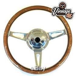 Ford Capri Classic 15 Polished Riveted Wood Rim Steering Wheel & Boss Kit