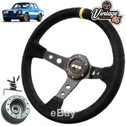 Ford Escort Mk1 340mm Rally Style Alcantara Steering Wheel & Boss Fitting Kit
