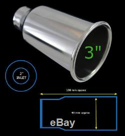 UNIVERSAL STAINLESS STEEL EXHAUST TAILPIPE SINGLE 2/3 YFX-0915-3-Ford 1