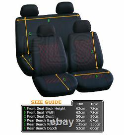 Universal 8 Piece Car Seat And Headrest Cover Set Black/red- Frd1