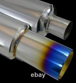 Universal Performance Stainless Steel Exhaust Burnt Tip Back Box 142150-frd1
