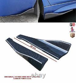 Universal Side Skirt Extension Blades Rocker Splitter 48cm Carbon Look-frd1