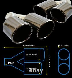 Universal Stainless Steel Black Edition Exhaust Quad Tailpipe Pair-frd1