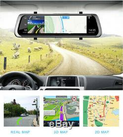 10inch 4g Voiture Rétroviseur Dvr Caméra Double Lentille Android 5.1 Dash Cam Recorder