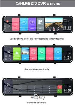12 Android 8.1 4g Wifi Gps Voiture Dvr Caméra Dash Cam Rétroviseur Recorde