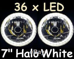 1pr Blanc 7 Halo Lumières Et 70w Hid Kit Ford Escort Mk1 Cortina Mk2 Lumières