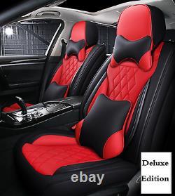 5d Deluxe Edition Couvre-auto 5 Places Coussin Cuir Microfibre Noir/rouge