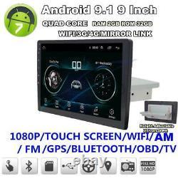 9single Din Réglable Android 9.1 Gps 3g Wifi 4g Bt Dab + 2 Go 32 Go Obd Quad Core