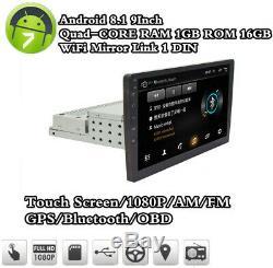 Écran Tactile 9 Simple Din Quad-core Réglable Android 8.1 Gps Voiture Wifi Bt Dab