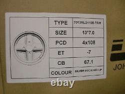 Ford Escort Capri Cortina Silver Revolite 7x13 Alloy Wheel Set 13x7 Et-7 Jbw