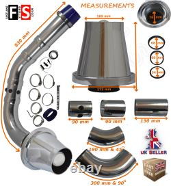 Performance Universelle Cold Air Feed Pipe Air Filter Kit Chrome 2103ch-frd1