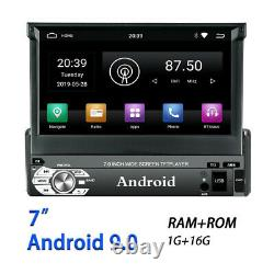 Rétractable 7in Android 9.0 Gps Simple Din 16g Bluetooth Stéréo Voiture Mp5