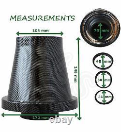 Sheilded Cone Noir De Carbone Universal Flux Filtre A Air & Adaptateurs Ford 1
